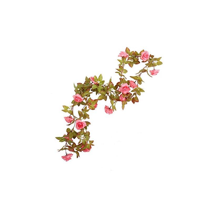 silk flower arrangements li hua cat rose garland artificial rose vine with green leaves 63 inch pack of 3 flower garland for home wedding decoration (17rose-pink)