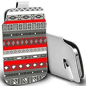 Piel sintética Pull Tab funda carcasa para Apple Iphone 44S 55S 5C rojo Tribu