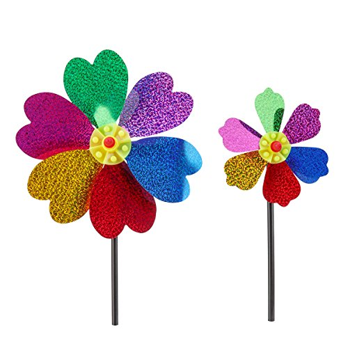 Triple Pinwheel (Rainbow Triple Wheel Spinner- Ground Stake Included - Colorful Wind Spinner for your Yard and Garden - Rainbow Glitter Flower Bee Wind Spinner Available)