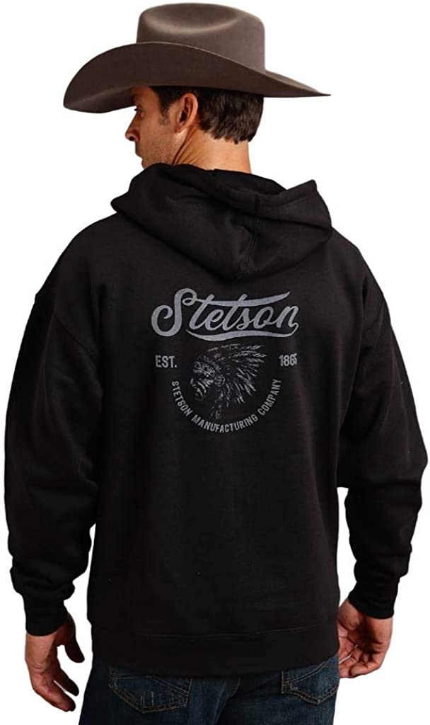 Stetson Western Sweatshirt Mens Hooded Black 11-097-0562-0887 BL
