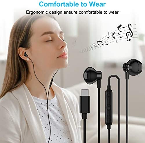 USB C Headphones, ACAGET Galaxy S21 Ultra Earbuds Wired Earphone for Android Semi in Ear USB Type C Headphone HiFi Stereo USB C Earphones for Samsung Galaxy S21 Ultra S20 FE Note 20 Tab S6 S5e Black