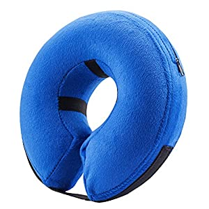 Protective Inflatable Collar for Dogs and Cats - Soft Pet Recovery Collar Does Not Block Vision E-Collar