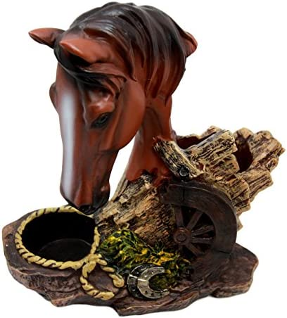 Ebros Country Western Brown Stallion Horse with Saddlebags Salt and Pepper Set