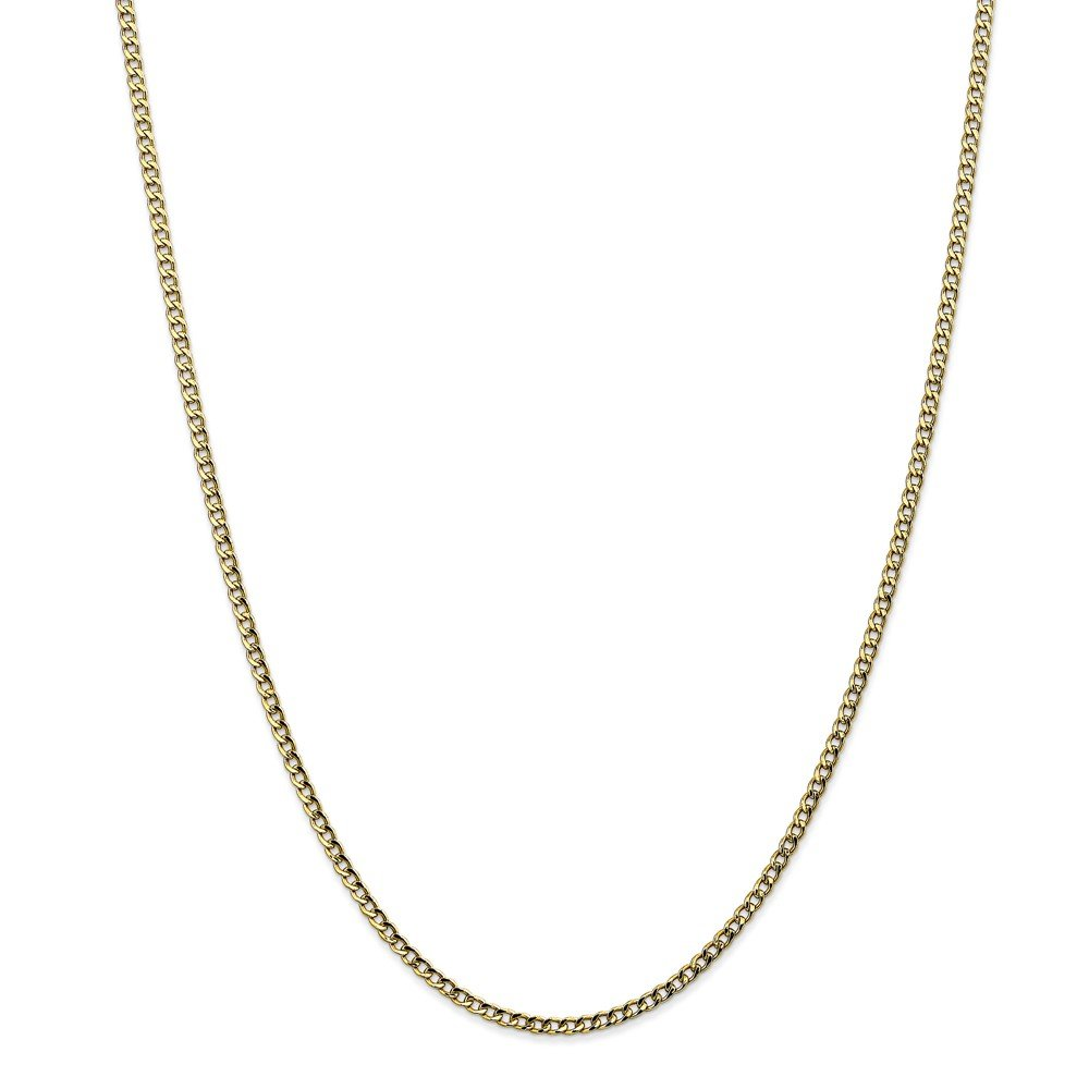 Top 10 Jewelry Gift 10k 2.5mm Semi-Solid Curb Link Chain