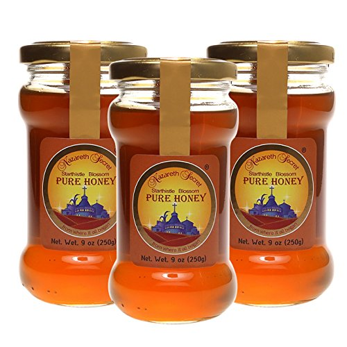Pure Natural Israeli Honey, Kosher, Holy Land Gifts From Nazareth Israel, 8.8 Ounce Each, 3 Jars