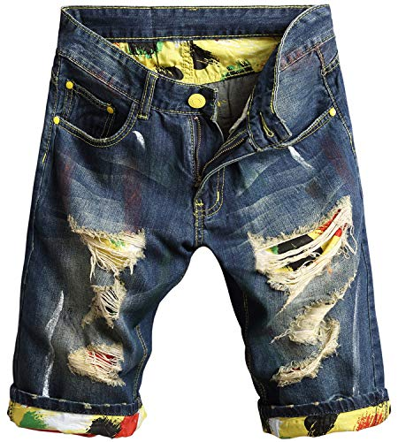 Men's Fashion Ripped Jeans Shorts Distressed Straight Fit Denim Shorts with Holes, 121, US 30 = Tag 32