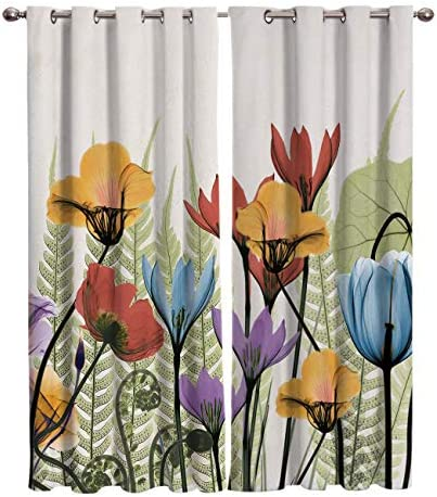 FunDecorArt Blackout Curtains, Freehand Bright-Coloured Flower Polyester Shade Curtains, 2 Panel Drapes Window Treatment for Bedroom Living Room Office Teen Room, 104 W x 96 L inches