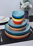 Sweese 151.002 Porcelain Dessert Salad Plates - 7.8 Inch - Set of 6, Hot Assorted Colors