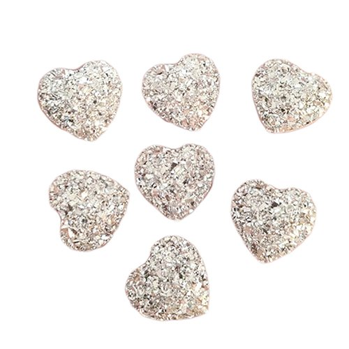 Stickers Crystal Acrylic (20Pcs Heart Shape Flatback Resin Rhinestones Flat Faceted Gems Glitter Crystal Charms 3D Nail Art Decorations for DIY Scrapbooking Phone Wedding Craft)