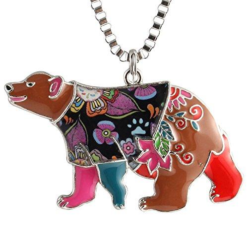 Bear Enamel Key Ring - Luckeyui Unique Bear Necklace Birthday Gift for Women Girls Multicolor Enamel Polar Bear Pendant Jewelry