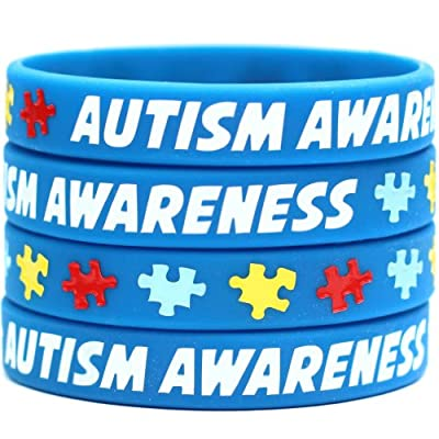 50 Autism Awareness Wristbands - Colorful Puzzle Pieces Silicone Bracelets …