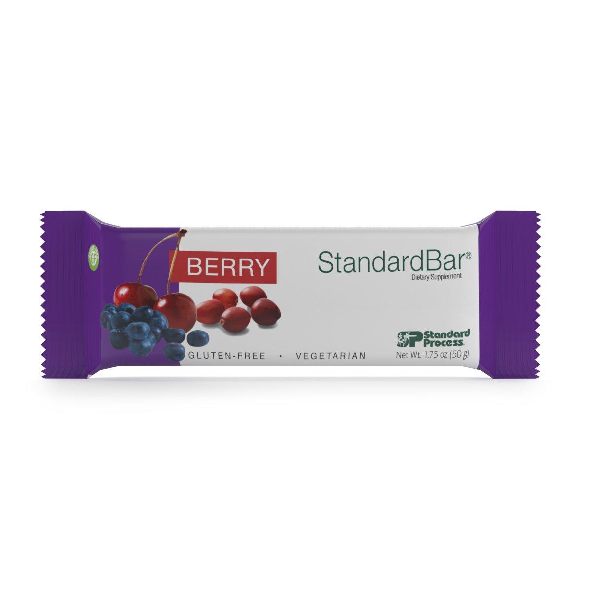 Standard Process - Berry StandardBar - Nutritious Blend of 3 Natural Fruits, 10g Protein with Calcium, Dietary Fiber, Gluten Free and Vegetarian - 18 Bars (1.75 oz. Each)