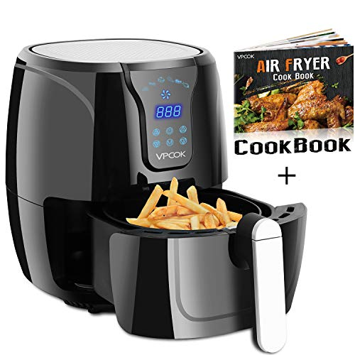 VPCOK Air Fryer with Recipes, 6 Cooking Presets, 1300 Watt, Power Air Fryer, 2-Year Warranty, Jet Black