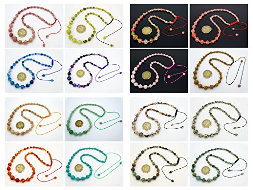 jennysun2010 Handmade Natural Gemstone Beads 4~12mm Graduated Adjustable Necklace Healing