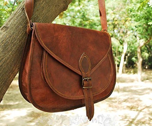 Leather Messenger 11 Inch Leather Womens Handbag Shoulder Bag Vintage Hand Made Tote Hobo Satchel Purse