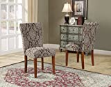 Roundhill Furniture Damask Fabric Parsons Chair, Brown, Set of 2