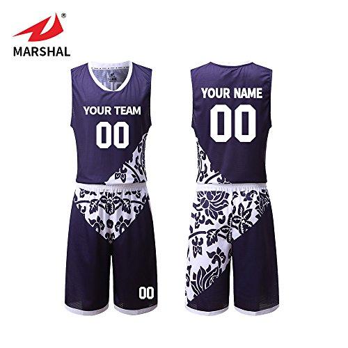 0e9f81e7d39 Marshal Jersey New Style Basketball unifroms Flower Pattern Sportswear  Men's Sport Uniforms (L)