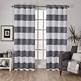 Exclusive Home Surfside Cabana Stripe Cotton Window Curtain Panel Pair with Grommet Top 54×108 Black Pearl 2 Piece For Sale