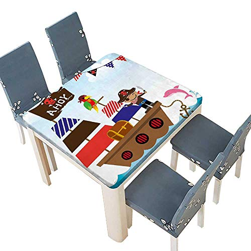 PINAFORE Polyester Tablecloths a Boy Cute Pirate Kids Treasure Chest Ship on Ocean Background Illustration Indoor Outdoor Use 69 x 69 INCH (Elastic Edge)