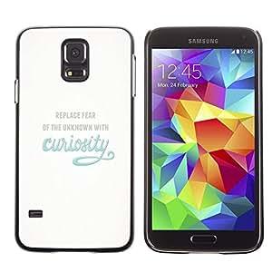 Caucho caso de Shell duro de la cubierta de accesorios de protección BY RAYDREAMMM - Samsung Galaxy S5 SM-G900 - Curiosity Exploration Blue Inspiring Text Motivational
