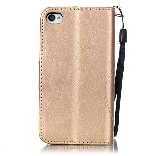 JIALUN-carcasa de telefono Con la ranura para tarjeta, cordón, presión Hermosa patrón de moda abrir el teléfono celular Shell para IPhone 4s 4 ( Color : Rose , Size : IPhone 4s ) Gold