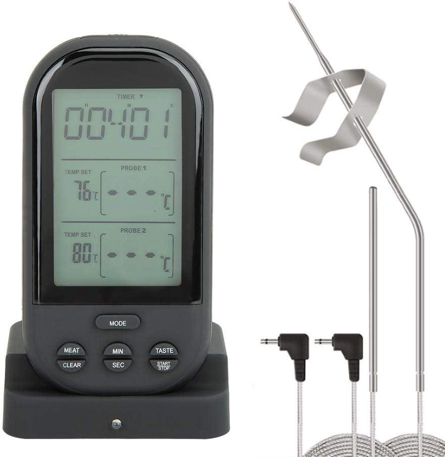 HERCHR Termómetro de Carne inalámbrico Digital Remoto inalámbrico con sonda Dual para ahumador asado a la parilla Barbacoa Cocina Cocina termómetro(Todo Negro con luz de Fondo Azul)