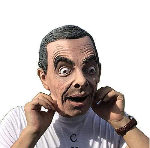 Mr. Bean Full Head Latex Mask Cosplay Helmet Funny British Sitcom Flexible Mask Halloween Costume Prop for $<!--$19.99-->