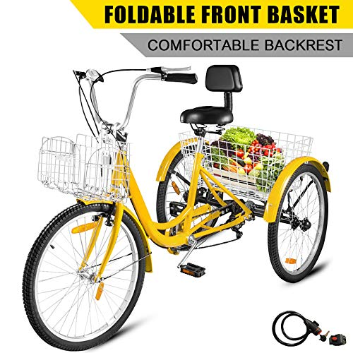 Happybuy Adult Tricycle 7 Speed Three Wheel Bike Cruise Bike 24inch Seat Adjustable Trike with Bell, Brake System and Basket Cruiser Bicycles Large Size for Shopping (24inch, Yellow+ 7 Speed)