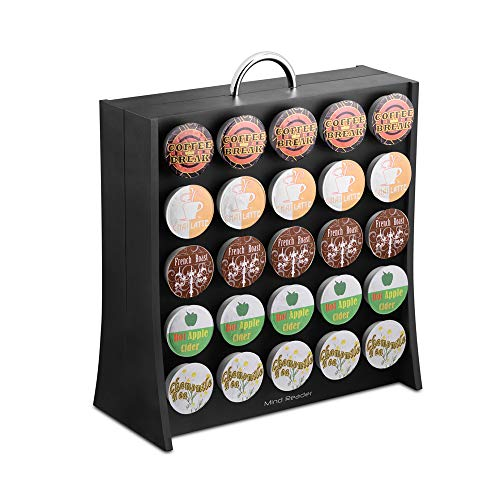 Mind Reader 50 Capacity K-Cup Single Serve Coffee Pod Holder Storage Organizer, Black (Keurig Cup Holder Wood)