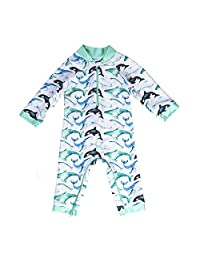 Whaley Cute Baby Swimsuit - Certified UPF 50+ - Easy Inseam Diaper Zipper