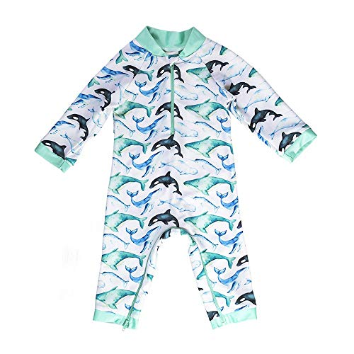 Honeysuckle Swim Company Baby Boy Swimsuit - Certified UPF 50+ - Easy Inseam Diaper Zipper (Newborn, Whaley Cute)