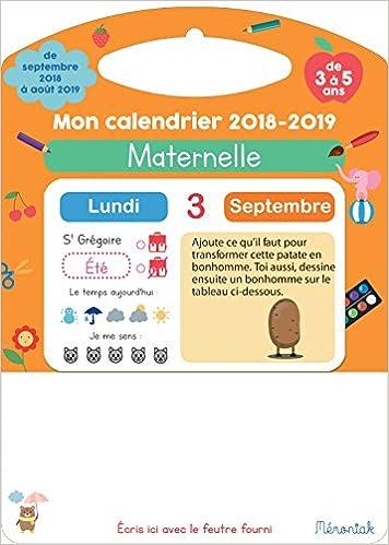 Mon Calendrier Fr.Amazon Fr Mon Calendrier Memoniak 2018 2019 Maternelle