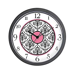 CafePress-Pink Black White Damask Elegant Clock-Wall Clock
