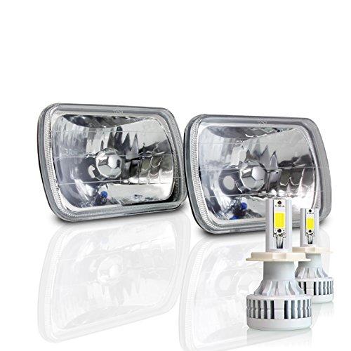(7x6 Inch Sealed Beam Headlight Conversion - fits H6054 H6052 H6014 - Clear Glass Diamond Cut Housing + H4 LED Kit 6000K Cool White 8000 LM)