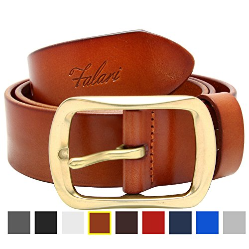 Falari Men's Leather Belt 38mm Light Brown 34-36 9002-LBN-M