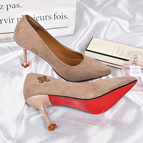 Apunta a la Boca Baja Fina con Zapatos de Tacón Alto Zapatos Femeninos de Moda Femenina Negra , albaricoque , EUR36.5