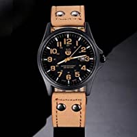 Deals on Vintage Mens Waterproof Date Leather Strap Sport Quartz Army Watch