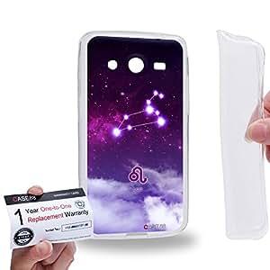 Case88 [Samsung Galaxy Core 2 / II G355H] Gel TPU Carcasa/Funda & Tarjeta de garantía - Art Universe Purple Leo 12 Zodiacal