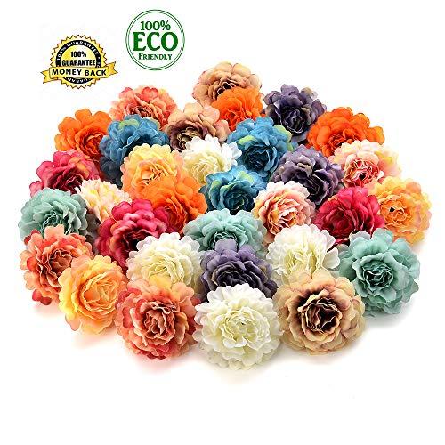Silk Flowers in Bulk Wholesale Artificial Silk Rose Flower Head Decorative DIY Fake Flowers for Wedding Home Party Garden Decoration Vases Decor Supplies 30PCS 4.5cm (Multicolor) ()
