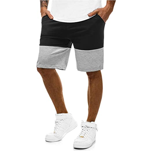 0086c6f2e1c iLXHD Men's Swim Trunks Summer New Casual Sports Slim Color Matching  Jogging Shorts Trousers with Pockets