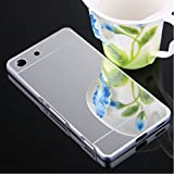 Delight Collection Luxury Aluminium Bumper With Mirror Acrylic Back Cover For Sony Xperia M5 / Sony Xperia M5 Dual - SILVER