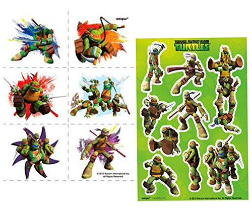 (Teenage Mutant Ninja Turtles 24ct Kids Temporary Party Favor Tattoos! Plus Bonus Tmnt 4ct Sticker)