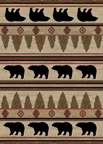 Rustic Lodge, Bear Cabin 2×3 Area Rug, 26″x39″ Multi 7482 Review