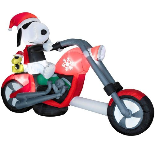 amazoncom christmas 75 snoopy on chopper peanuts airblown inflatable motorcycle garden outdoor - Snoopy Blow Up Christmas Decorations