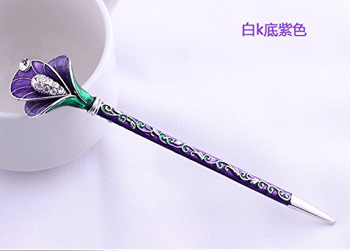Fashion Hair Decorative Chinese Traditional Style Women Girls Hair Stick Hairpin Hair Making Accessory with Lotus 1pc/package (purple)