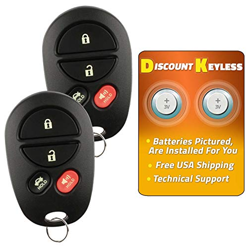 Discount Keyless Replacement Key Fob Car Entry Remote Toyota Avalon Solara GQ43VT20T (2 Pack)