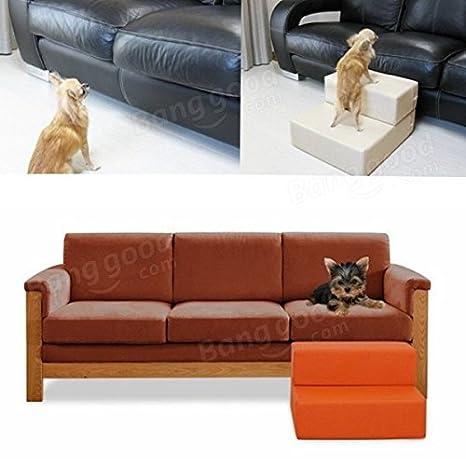 Paleo Gato perro portátil plegable de cuero cubierto escaleras suben 2step rampa sofá cama impermeable accesorios para mascotas: Amazon.es: Hogar