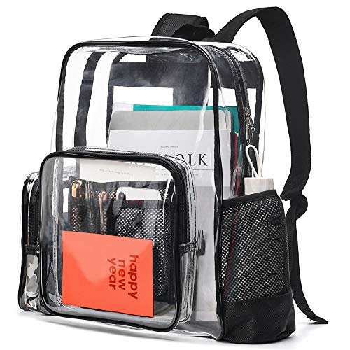 Cambond Clear Backpack, Heavy Duty Transparent School Backpack with Reinforced Straps Large Clear Backpack for School and Work (Black)