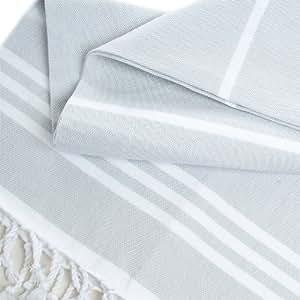Toalla de baño de algodón turco - gris claro con rayas blancas