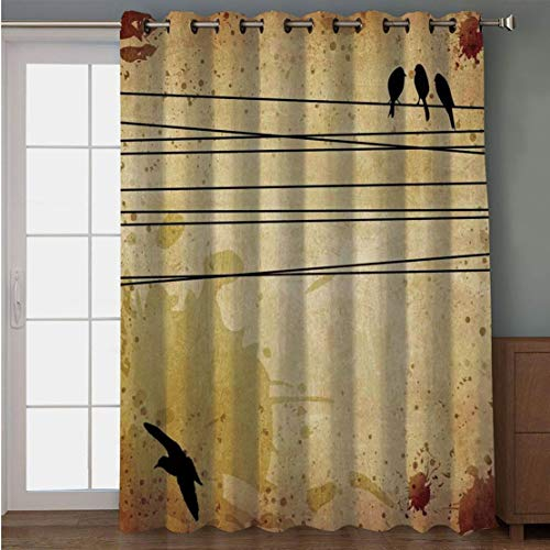 Joy2016 Blackout Curtains for Patio Sliding Door, Extra Wide Draperies for Double Window, Thermal Insulated Energy Efficiency Blackout Curtains for Bedroom Decor, 108 Inch Wide x 63 Inch Length ()
